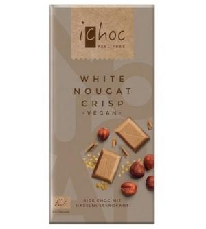 ICHOC Bio Rýžová bílá nugát s oříšky 80 g