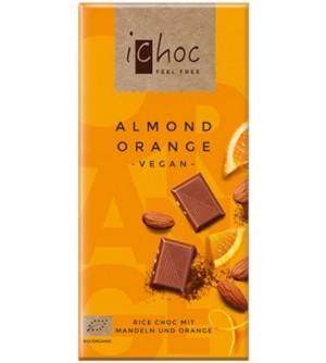 ICHOC Bio Rýžová čoko mandle-pomeranč 80 g