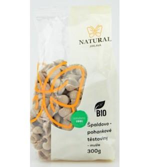 NATURAL JIHLAVA Těstoviny špaldovo pohankové BIO mušle 300 g