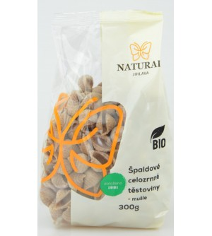 NATURAL JIHLAVA Těstoviny špaldové celozrnné BIO - mušle 300 g