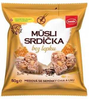 Semix Musli srdíčka BEZ LEPKU - med a chia 50 g