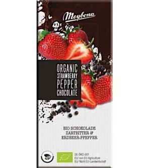 Mezbona Bio Čokoláda hořká s jahodovými plátky a pepřem 52% 100 g