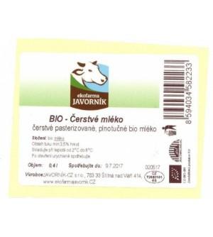 Javorník Bio čerstvé mléko 400 ml