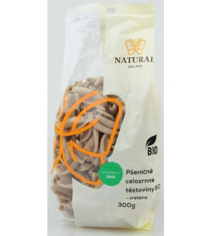 NATURAL JIHLAVA Těstoviny pšeničné celozrnné BIO - vřetena 300 g