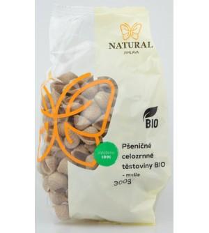 NATURAL JIHLAVA Těstoviny pšeničné celozrnné BIO - mušle 300 g